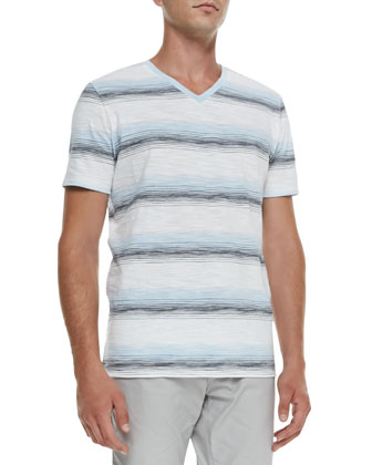 Striped Knit V-Neck Tee, White/Navy