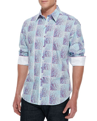 Brando Paisley & Plaid Sport Shirt, Light Blue