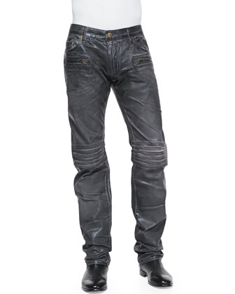 3D Coated Denim Moto Pants, Charcoal