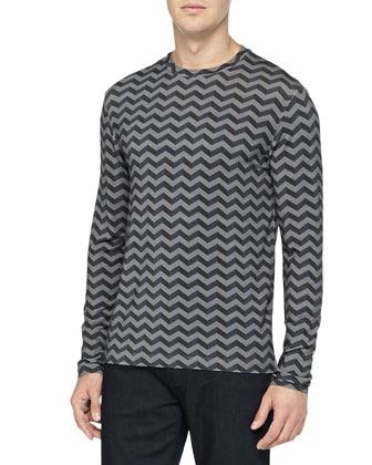 Long-Sleeve Jersey Shirt, Gray/Dark Gray