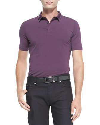 Double-Collar Stretch Polo, Wine
