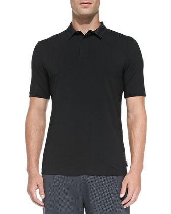 Stretch-Knit Polo with Double Collar, Black