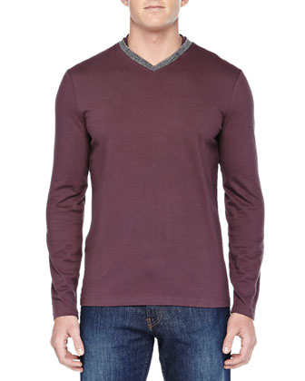Long-Sleeve Shirt W/ Contrast V-Neck, Wine/Gray