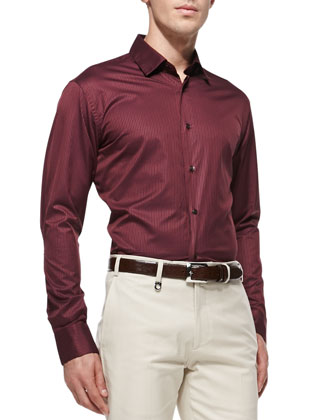 Small-Check Woven Shirt, Burgundy