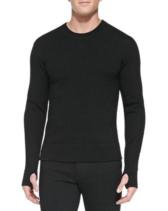 Tech Moto Jacket, Runner's Thumb Merino Sweatshirt & Flat-Front Cotton Trousers