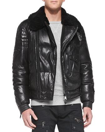 Leather Moto Jacket with Shearling Collar, Crewneck Sweatshirt & Stretch ...