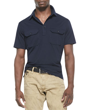 Cotton Military Polo, Navy