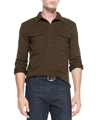Long-Sleeve Military Mesh Polo & Coated Straight-Leg Denim Jeans