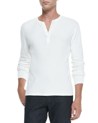 Long-Sleeve Ribbed Henley, White