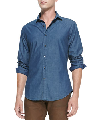 Waffle-Knit Shawl Cardigan, Woven Chambray Shirt & Canvas Slim-Fit Jeans