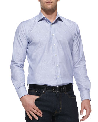 Rose-Overlay Fine-Stripe Sport Shirt, Blue
