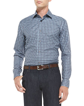 Large-Check Woven Shirt, Blue