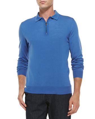 Quarter-Zip Wool Sweater, Light Blue