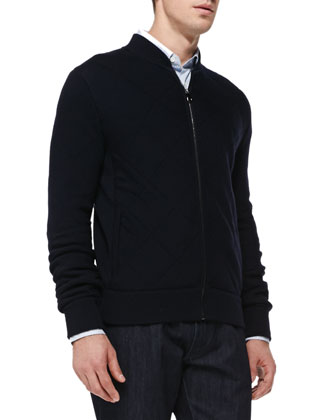 Quilted Knit Zip Cardigan, Navy
