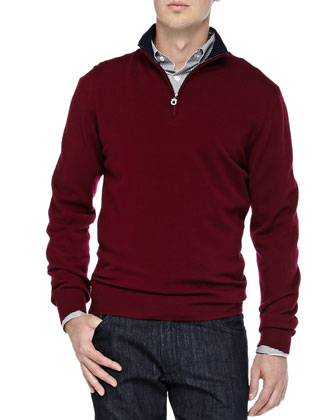 Wool Quarter-Zip Sweater, Burgundy