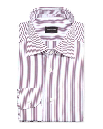 Bengal Striped Dress Shirt, Burgundy/White