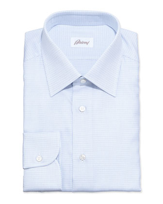 Lattice-Weave Grenadine Dress Shirt, Blue