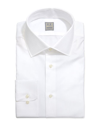 Long-Sleeve White-On-White Striped Shirt