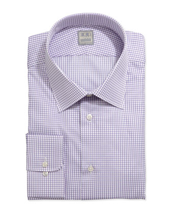 Long-Sleeve Check Dress Shirt, Purple