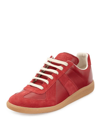 Replay Leather Low-Top Sneaker, Red