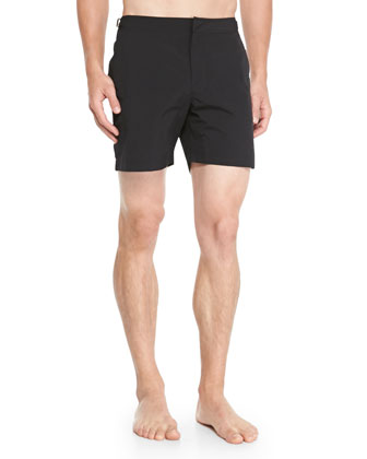 Bulldog Mid-Length Swim Trunks, Black