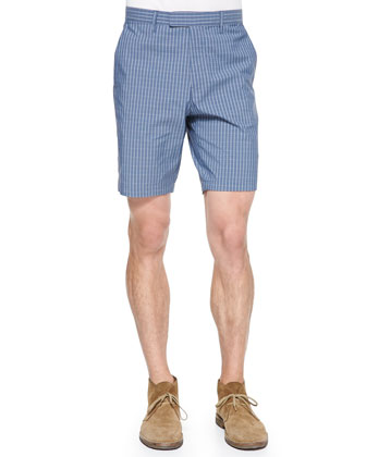 Zaine Graph-Check Rustin Shorts, Blue