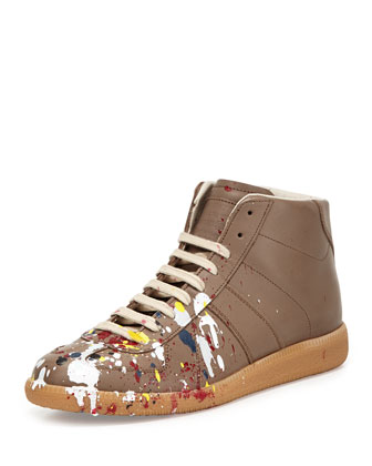 Splatter Leather High-Top Sneaker, Mud
