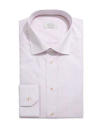 Tattersall Grid-Check Dress Shirt, Red/Blue