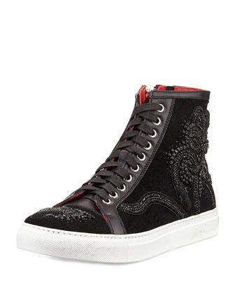 Lajos Men's Snake-Beaded High-Top Sneaker, Black