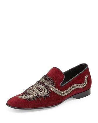 Pascow Men's Snake-Beaded Velvet Loafer, Burgundy