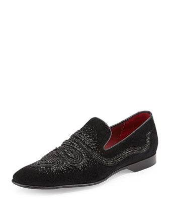 Pascow Men's Snake-Beaded Velvet Loafer, Black