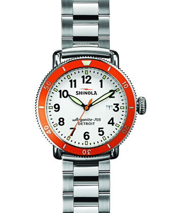 42mm Runwell Sport Watch, Stainless Steel/White