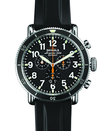 48mm Runwell Sport Chrono Rubber Strap Watch, Black