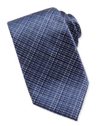 Tonal Crosshatch Woven Tie, Blue