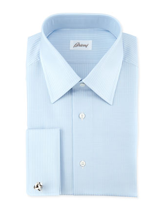 Tonal-Stripe Dress Shirt, Blue