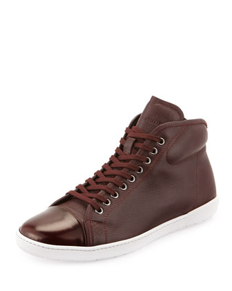 Men's Leather High-Top Sneaker, Ruby