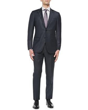 Plaid Trofeo Wool Suit, Navy