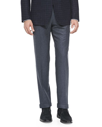 Melange Flannel Trousers, Blue Gray
