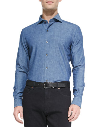 Woven Denim Shirt, Navy