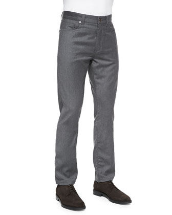 Wool-Flannel 5-Pocket Trousers, Dark Gray
