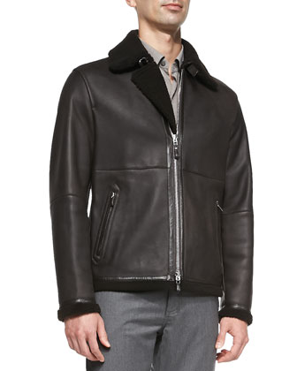 Lamb Leather Jacket with Shearling, Woven Button-Down Shirt & Wool-Flannel ...