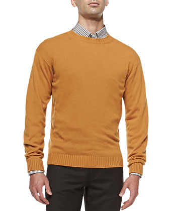 Cashmere Crewneck Sweater, Gold