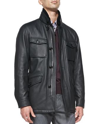 Deerskin Leather Safari Jacket with Fur Collar, Navy