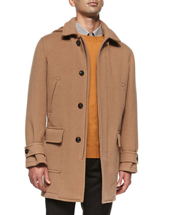 Wool/Cashmere Mac Coat, Brown