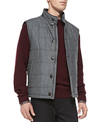 Shearling Fur-Trimmed Quilted Vest, Wool Crewneck Sweater, Plaid Woven ...
