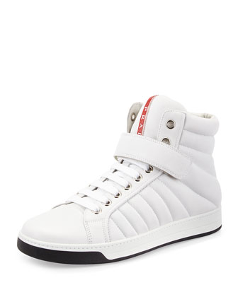 Quilted Leather High-Top Sneaker, White