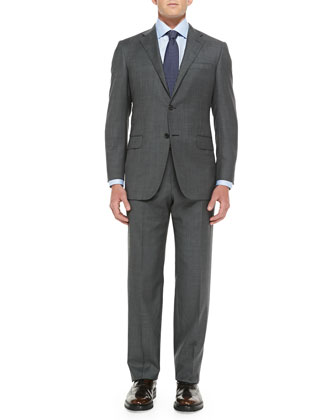 Sharkskin Two-Piece Suit, Gray