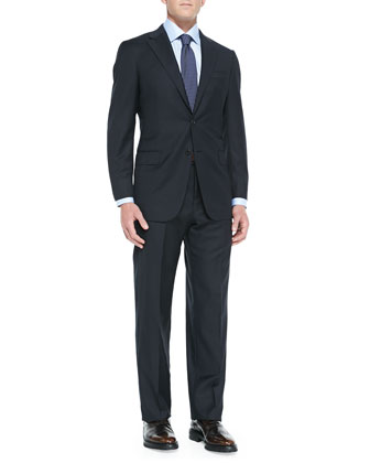 Twill Serge Two-Piece Suit, Navy