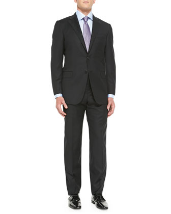 Twill Serge Two-Piece Suit, Black