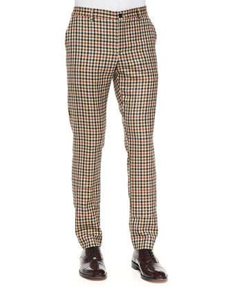 Check Skinny Wool Trousers, Multi